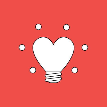 Vector illustration concept of glowing heart-shaped light bulb. Black outlines, red background.