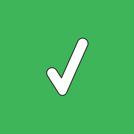 Vector illustration icon concept of check mark. Black outlines, green background. 向量圖像