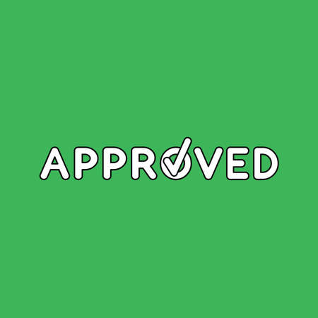 Vector illustration concept of approved text with check mark. Black outlines, green background. 向量圖像