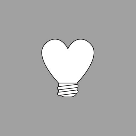 Vector illustration icon concept of heart shaped light bulb. Black outlines, grey background.