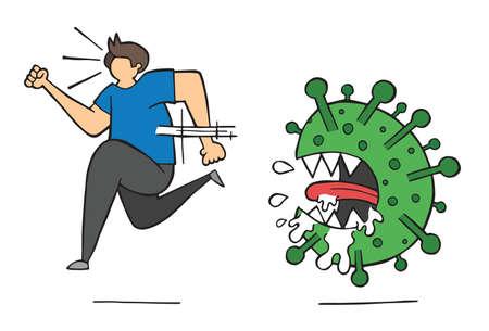Hand drawn vector illustration of corona virus, covid-19. Man running away from virus.