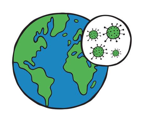 Hand drawn vector illustration of corona virus, covid-19. World globe and viruses.