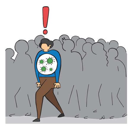 Hand drawn vector illustration of corona virus, covid-19. The infected man is walking in the crowd.