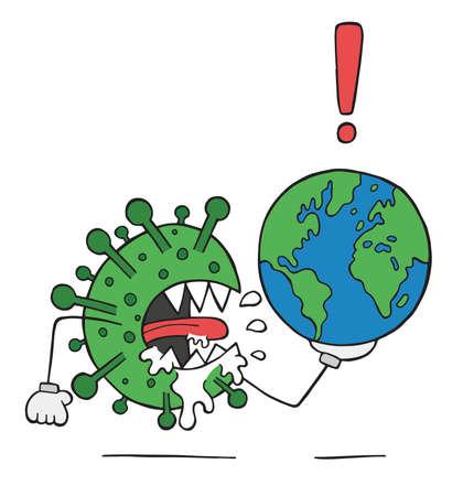 Hand drawn vector illustration of corona virus, covid-19. Virus monster is holding world globe.