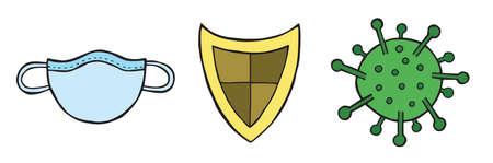 Hand drawn vector illustration of corona virus, covid-19. Medical mask, guard shield and virus, protect.