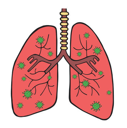 Hand drawn vector illustration of corona virus, covid-19. Viruses in the lungs.