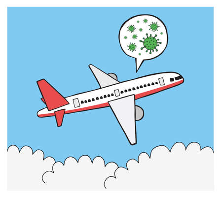 Hand drawn vector illustration of corona virus, covid-19. Travel by plane and travel of infected patients. Ilustrace