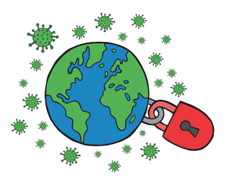 Hand drawn vector illustration of corona virus, covid-19. The world was closed due to the virus. Ilustrace