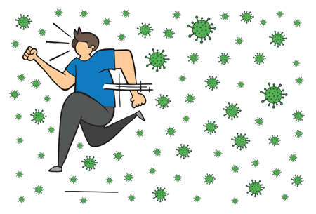 Hand drawn vector illustration of corona virus, covid-19. Man running away from viruses. Ilustrace