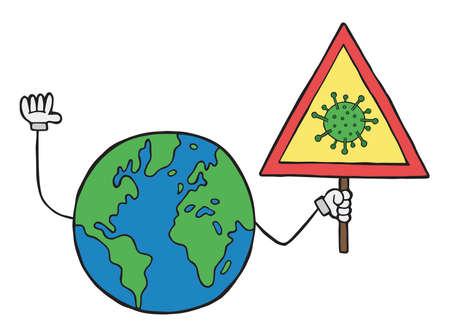 Hand drawn vector illustration of  corona virus, covid-19. World globe holding danger sign.