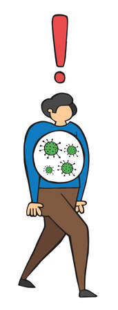 Hand drawn vector illustration of corona virus, covid-19. The infected man is walking.