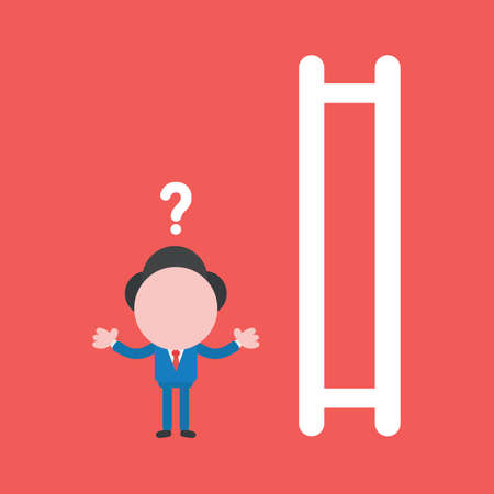 Vector illustration of confused businessman character and wooden ladder icon with missing steps. Ilustrace