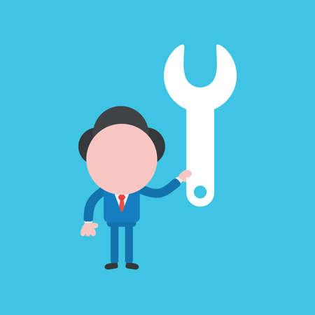 Vector illustration of businessman character holding spanner. Ilustrace