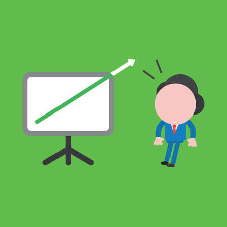 Vector illustration of surprised businessman character with arrow moving up and out of presentation board and looking. Ilustrace