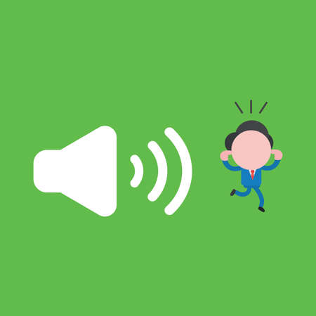 Vector illustration of businessman character close ears with fingers and running away from loud voice speaker sound.