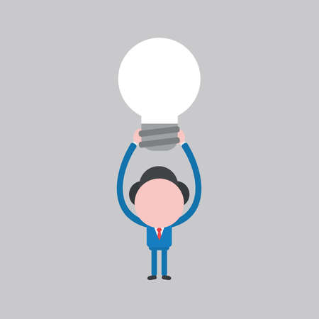Vector illustration of businessman character lifting up and showing light bulb icon.