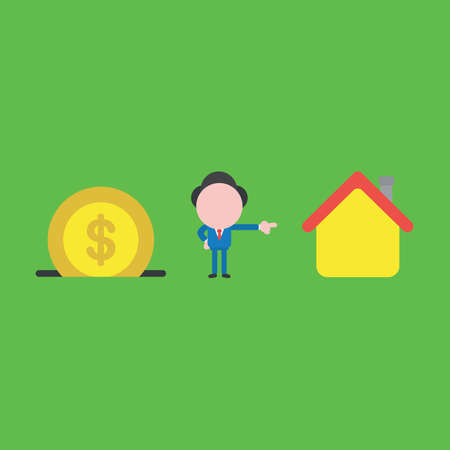 Vector illustration of businessman character with dollar coin into moneybox, saving money and pointing buying house.