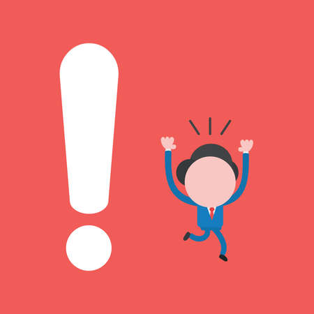 Vector illustration of businessman character running away from big exclamation mark. Ilustrace
