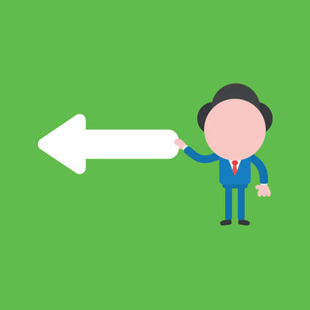 Vector illustration of businessman character holding arrow pointing left.
