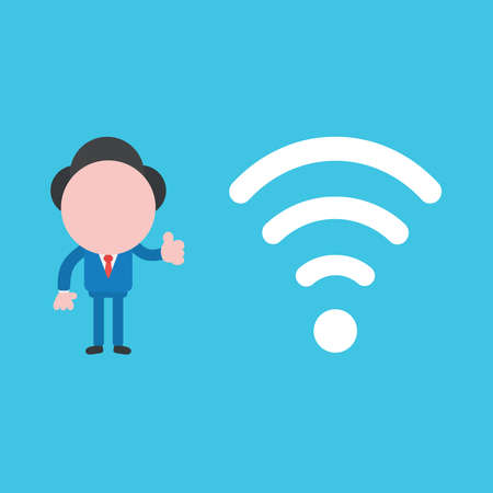 Vector illustration of businessman character giving thumbs up with wifi wireless symbol.