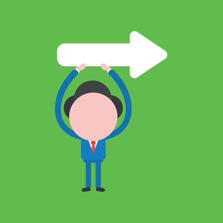 Vector illustration of businessman character holding up arrow pointing right.
