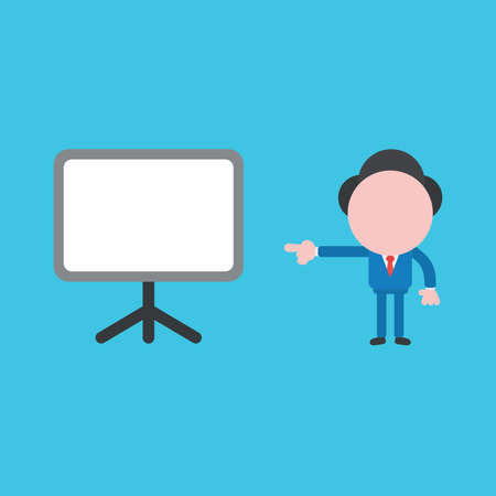 Vector illustration of businessman character pointing blank presentation board.