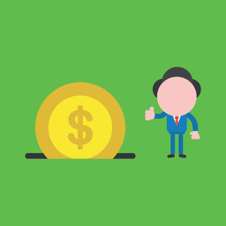 Vector illustration of businessman character giving thumbs up with dollar coin money into moneybox hole. 向量圖像