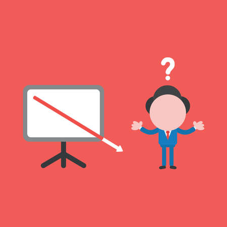 Vector illustration of confused businessman character with arrow moving down and out of presentation board. Ilustrace