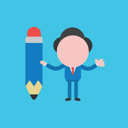 Vector illustration of businessman character holding pencil icon.