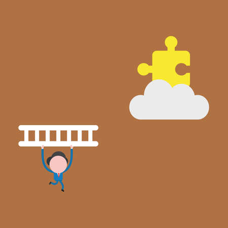 Vector illustration of businessman character running and carrying wooden ladder to climb and reach missing puzzle piece on cloud.