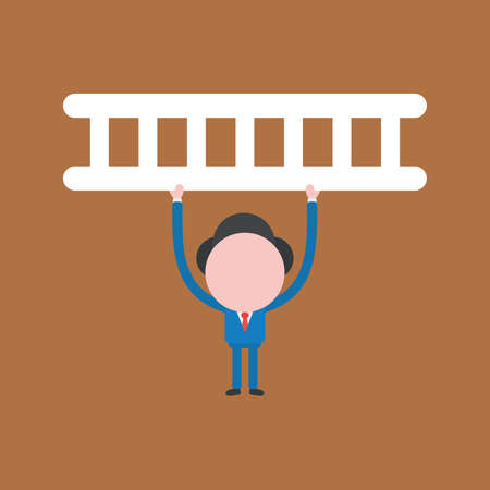 Vector illustration of businessman character holding up wooden ladder.