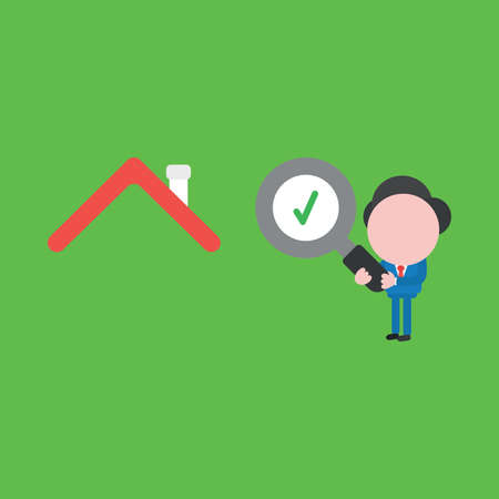 Vector illustration of businessman character holding magnifying glass with check mark and looking, analyzing house.