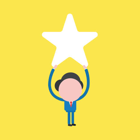 Vector illustration of businessman character holding up star icon.