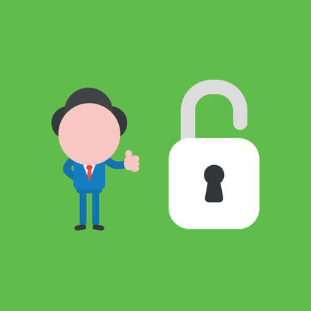 Vector illustration of businessman character showing thumbs up with open padlock.