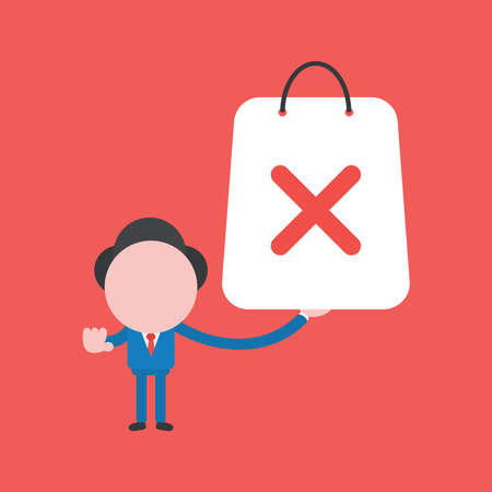 Vector illustration of businessman character holding red shopping bag with x mark.