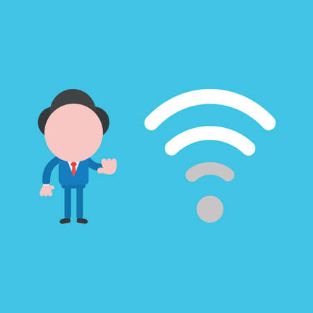 Vector illustration of businessman character with low, poor wifi wireless signal.