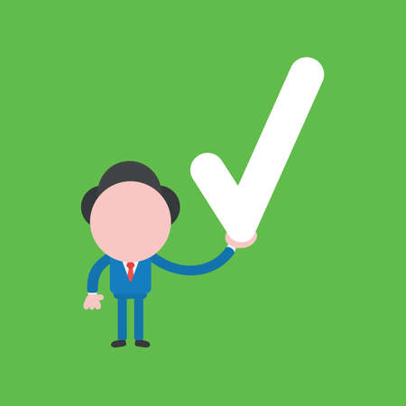 Vector illustration of businessman character holding check mark. Ilustrace