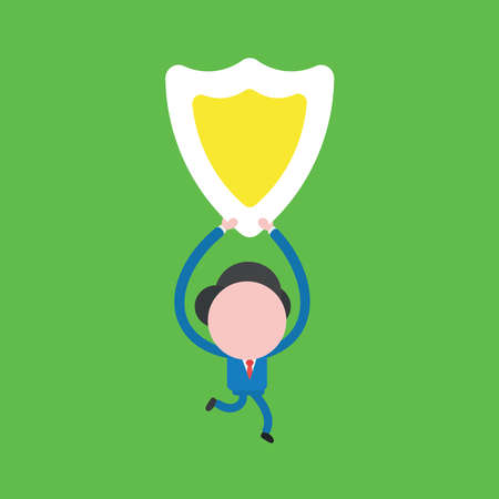 Vector illustration of businessman character running and holding up shield guard.
