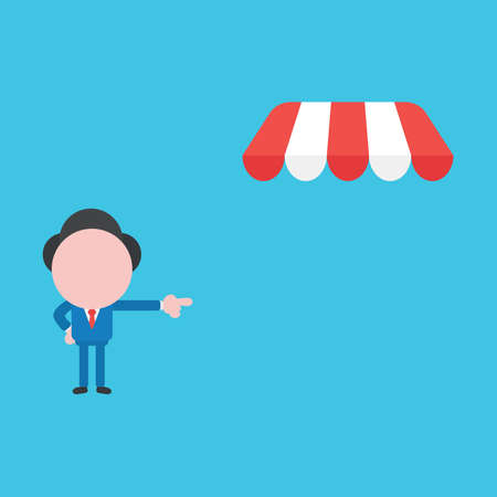 Vector illustration of businessman character pointing shop store awning. Иллюстрация