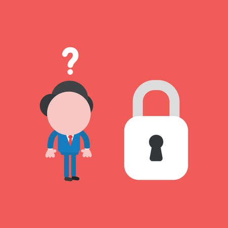 Vector illustration of businessman character confused with question mark and looking to closed padlock. Ilustrace