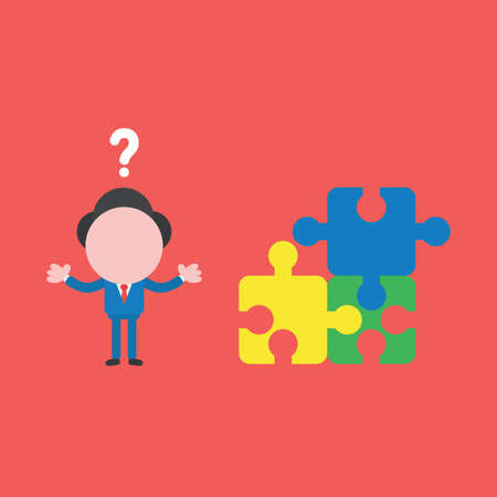 Vector illustration of businessman character confused with question mark and three puzzle pieces connected and one of piece is missing. Ilustrace