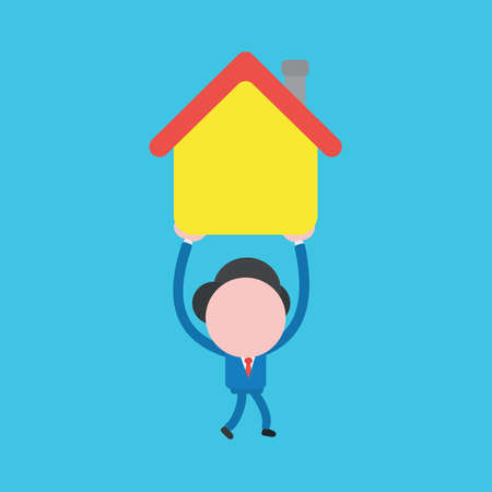 Vector illustration of businessman character walking, holding up, carrying house icon.