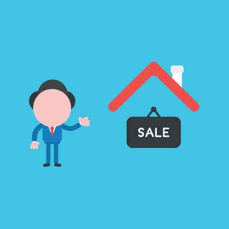 Vector illustration of businessman character with house and sale word written on hanging sign icon.