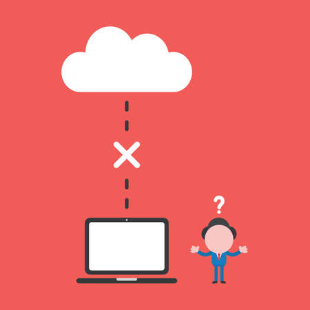 Vector illustration of businessman character confused with connection problem between cloud storage and laptop computer icon.