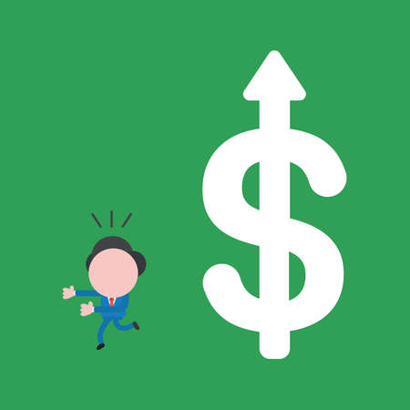 Vector illustration of businessman character running away from big dollar with arrow moving up.
