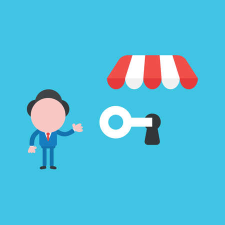 Vector illustration of businessman character showing unlock shop store with key.