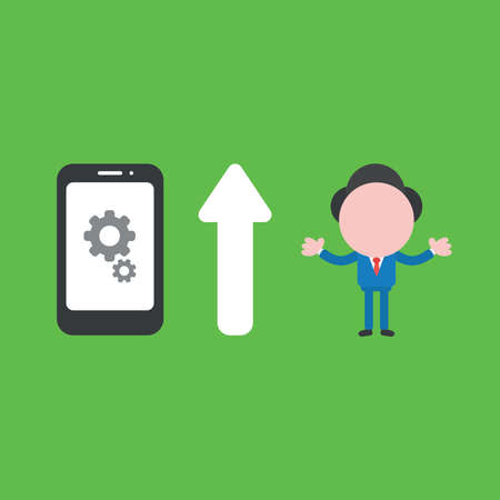 Vector illustration of businessman character with gears inside smartphone icon and arrow pointing up meaning improve performance.