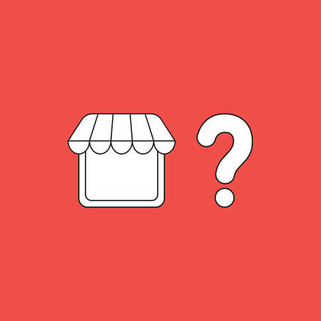 Vector icon concept of shop store with question mark. White color with black outlines and red background.