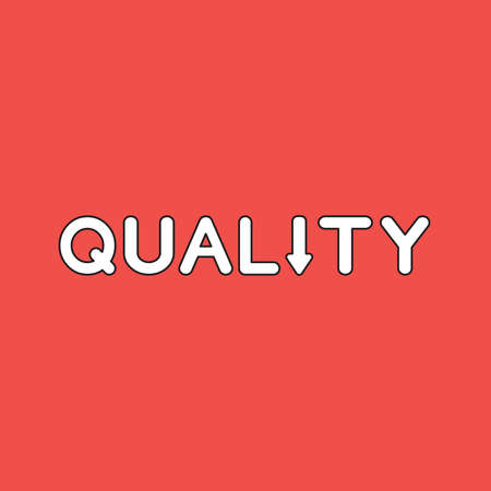 Vector icon concept of quality word text with arrow moving down. White color with black outlines and red background.