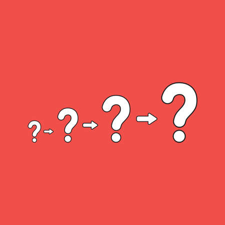 Vector illustration concept of growing problems with question marks. White color with black outlines and red background.